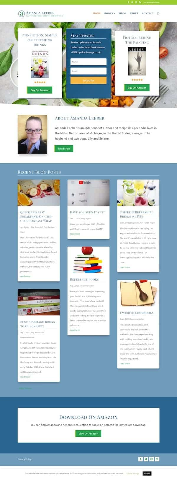 K. Archer Books Website Design Example Screenshot